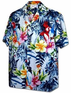 Paradise Parrot<br>Men's Hawaiian shirts<br>Matching chest pocket<br>100% Cotton<br>