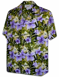 Purple Hibiscus<br>Hawaiian Shirts<br>Matching chest pocket<br>100% Cotton<br>