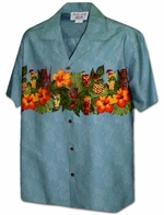 Pineapple & Hibiscus<br>Hawaiian Shirts<br>Matching chest pocket<br>100% Cotton<br>