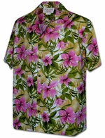 Pink Hibiscus<br>Hawaiian Shirts<br>Matching chest pocket<br>100% Cotton<br>