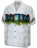 Hawaiian Tiki<br>Men's Hawaiian shirts<br>Matching chest pocket<br>100% Cotton<br>