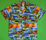 Hawaiian Tiki Statues<br>Men's Hawaiian shirts<br>Matching chest pocket<br>100% Cotton<br>