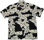Hibiscus Pareau<br>Men's Hawaiian shirts<br>Matching chest pocket<br>100% Rayon<br>