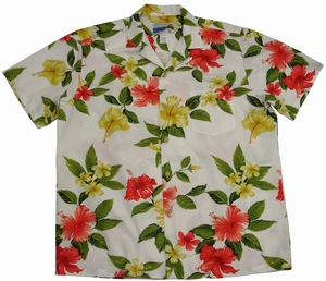 Hibiscus Plumeria<br>Hawaiian Shirt<br>Matching chest pocket<br>100% Cotton<br>