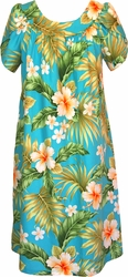 Hibiscus Summer<br>Hawaiian Muumuu Dress<br>100% Cotton<br>