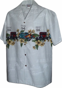 Hot Rods Route 66<br>Mens Hawaiian Shirts<br>Matching chest pocket<br>100% Cotton<br>