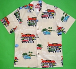 Hot Rods USA<br>Men's Hawaiian Shirt<br>Matching chest pocket<br>100% Cotton<br>