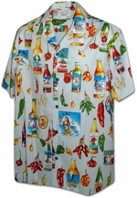 Hot Sauce<br>Mens Hawaiian Shirts<br>Matching chest pocket<br>100% Cotton<br>