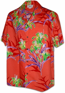 Lily Flowers<br>Mens Hawaiian Shirts<br>Matching chest pocket<br>100% Cotton<br>