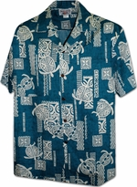 Lucky Turtle<br>Men's Hawaiian shirts<br>Matching chest pocket<br>100% Cotton<br>