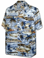 Oahu Golf Club<br>Men's Hawaiian shirts<br>Matching chest pocket<br>100% Cotton<br>