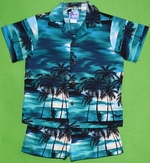 Paradise Beach<br>Boy's Hawaiian Shirt<br>and Matching Pants<br>100% Cotton<br>