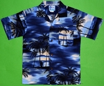 Paradise Beach<br>Boy's Hawaiian Shirt<br>Matching chest pocket<br>100% Cotton<br>