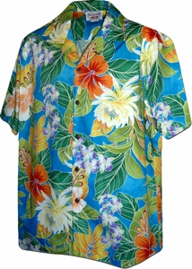 Paradise Hibiscus<br>Aloha Shirts<br>Matching chest pocket<br>100% Cotton<br>