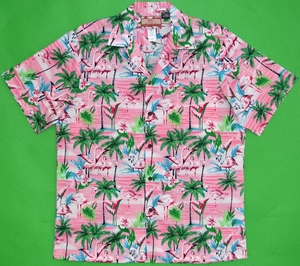 Pink Flamingo<br>Men's Hawaiian Shirt<br>Matching Chest Pocket<br>100% Cotton<br>