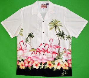 Pink Flamingos<br>Men's Hawaiian shirts<br>Matching chest pocket<br>100% Cotton<br>