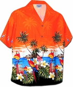 Plumeria Parrot<br>Women's Hawaiian Shirt<br>100% Cotton<br>