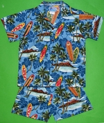Surf Board<br>Boy's Hawaiian Shirt <br>and Matching Pants<br>100% Cotton<br>
