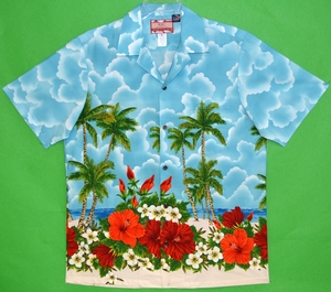 Traditional Aloha Shirt<br>Men's Hawaiian shirts<br>Matching chest pocket<br>100% Cotton<br>