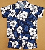 Traditional Hibiscus<br>Boy's Hawaiian Shirt <br>And Matching Pants<br>100% Cotton<br>