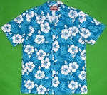 Traditional Hibiscus<br>hawaiian shirt<br>Matching chest pocket<br>100% Cotton<br>
