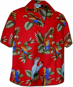 Tropical Parrot<br>Women's Hawaiian Shirt<br>100% Cotton<br>