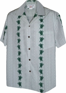 Turtle Panels<br>Mens Hawaiian Shirts<br>Matching chest pocket<br>100% Cotton<br>
