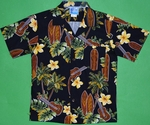 Ukulele & Surf Board<br>Boy's Hawaiian Shirt<br>Matching chest pocket<br>100% Cotton<br>