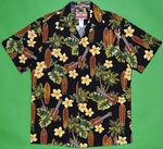 Ukulele & Surf Board<br>Men's Hawaiian Shirt<br>Matching Chest Pocket<br>100% Cotton<br>