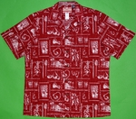 Vintage Hawaiian Designs<br>Men's Hawaiian shirts<br>Matching chest pocket<br>100% Cotton<br>