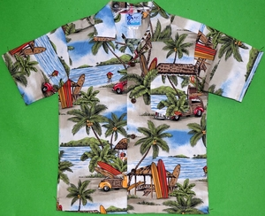 Woodie Shirt<br>Boys Hawaiian Shirts<br>Matching Chest Pocket<br>100% Cotton<br>