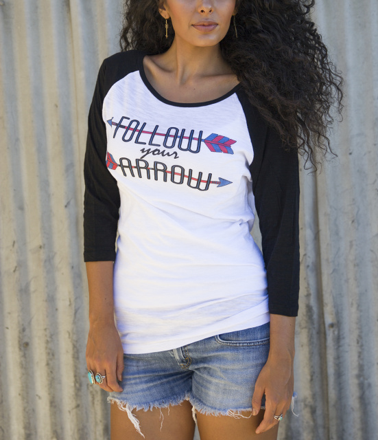 Cowgirl Follow Your Arrow Baseball Burnout Tee