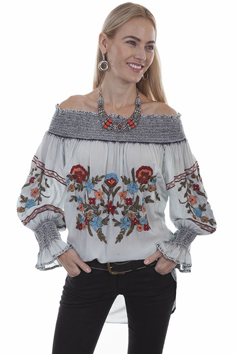 Flamboyant Embroidered Peasant Blouse Blue