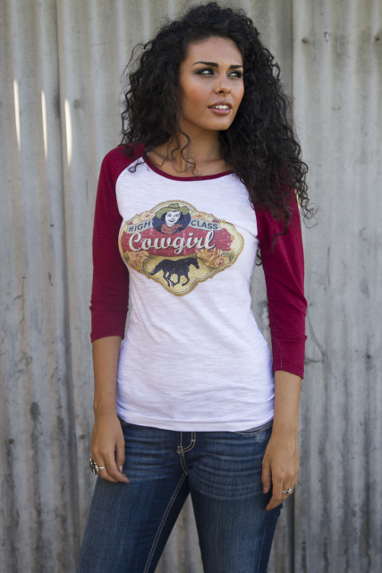 High Class Cowgirl Burnout Baseball  Original Cowgirl Clothing Co