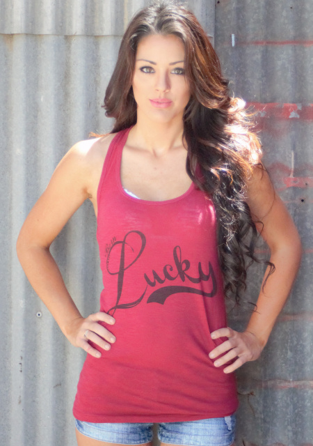 Lipstick Red LUCKY Burnout Tank