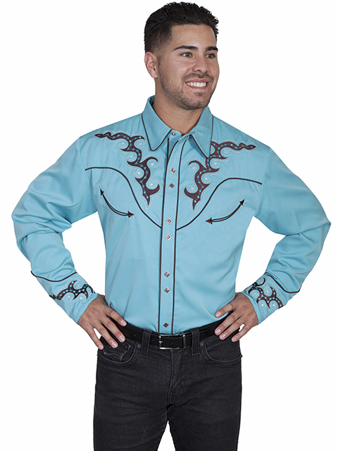 Scully Boot Stitch Western Shirt Mint