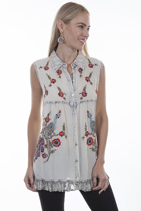Scully's Vintage Sleeveless Shirt - Vintage Blue