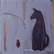 "BLACK CAT WITH ROBIN - Original Painting 24"" x 24"""