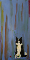 "BORDER COLLIE WITH BALL - Original Painting 24"" x 12"""