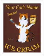 Custom Calico Cat Ice Cream Print