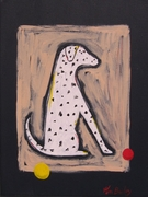DALMATIAN WITH A RED AND A YELLOW BALL