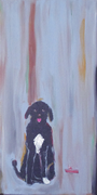 "Portuguese Water Dog and Toy Boat Original Painting 12"" x 6"""