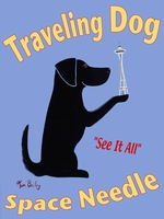 Traveling Dog - Space Needle - Premium Canvas Limited Edition Print