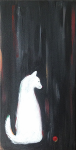 WHITE CAT WITH RED BALL - Original painting