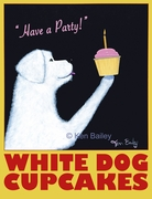 White Dog Cupcakes - Premium Canvas Limited Edition Print