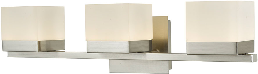 Bathroom Light Fixtures In Brushed Nickel abra 20023wv-bn cubic modern brushed nickel led 3-light bathroom