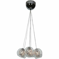 Access 52077-CH-CLR Aeria Modern Chrome Finish 4  Tall Halogen Multi Ceiling Pendant Light