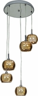 Access 52118-CH-MIR Glam Modern Chrome & Mirror, Clear Glass, Crystal Xenon Multi Drop Ceiling Lighting