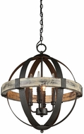 Artcraft AC10015 Castello Aspen Wood & Black Mini Ceiling Chandelier