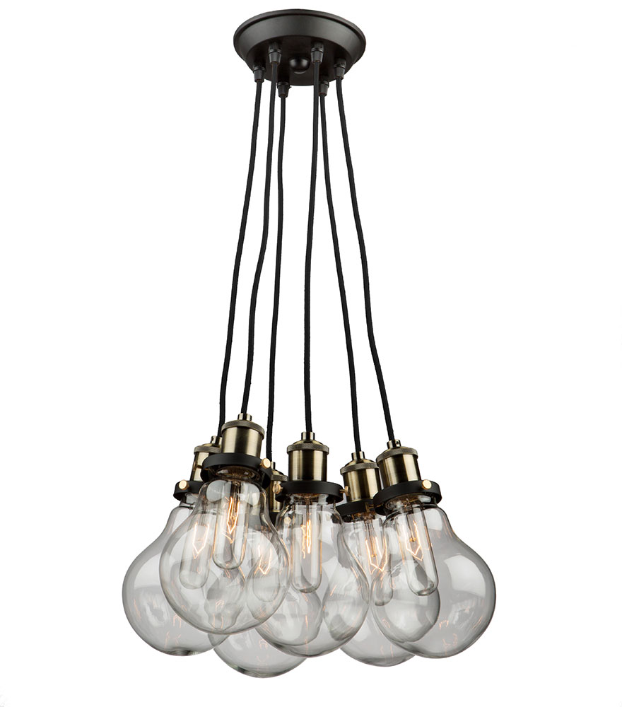Artcraft ac10485 edison multi hanging pendant lighting for Luminaire double suspension